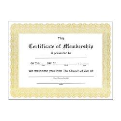 Church Membership Certificate